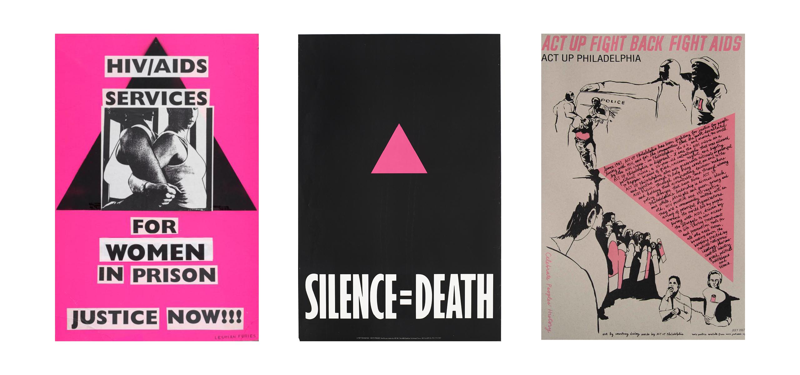 Tre plakater fra ACT UP bevægelsen som viser den pink trekant. Den første plakat er HIV/AIDS services for kvinder i fængsel, den adem er sort med teksten Silence=Death og den sidste for en lokal aktion i Philadelphia.